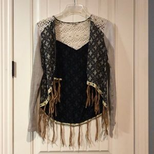 BKE fringe sweater sm